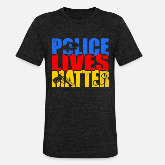 Gift Idea T-Shirts - Police Policeman Police Car Gift Gift Idea - Unisex Tri-Blend T-Shirt heather black