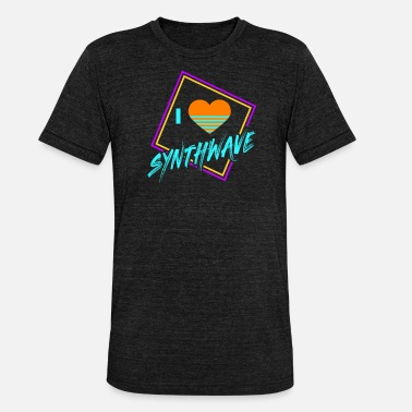80s Geometric 80s Synthwave Geometric I Love Synthwave Gift - Unisex Tri-Blend T-Shirt by Bella & Canvas