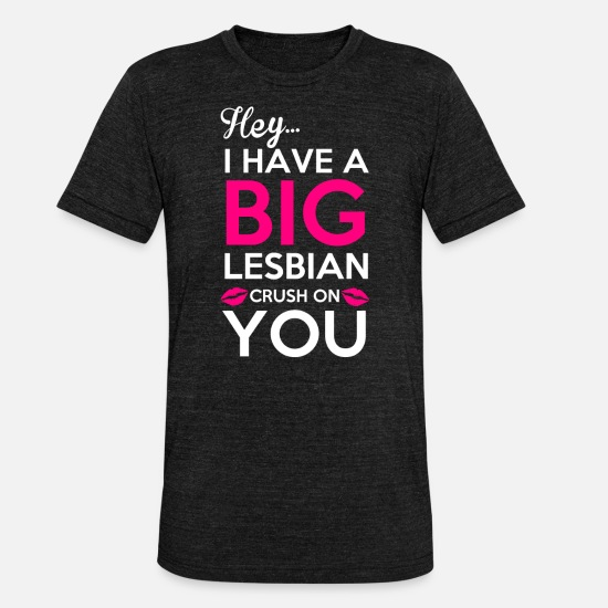 Big T-shirts - Big Crush Lesbian sur You - T-shirt chiné unisexe noir chiné