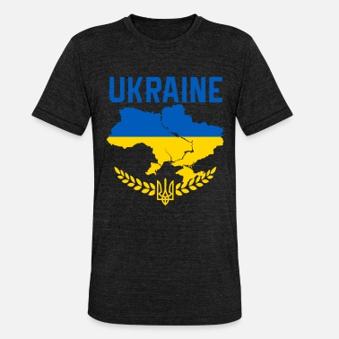 Kyrillisk Ukraine | Flag | land - Unisex tri-blend T-shirt fra Bella + Canvas