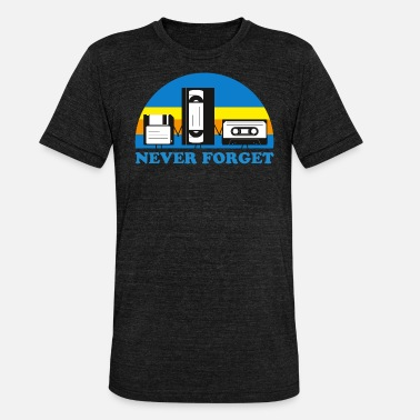 NEVER FORGET CASSETTES and DISCS - Unisex Tri-Blend T-Shirt