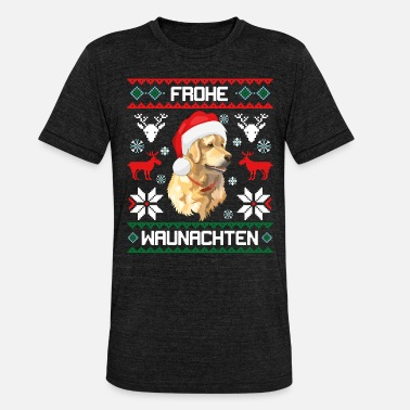 Golden Retriever Golden Retriever Frohe Waunachten - Unisex Tri-Blend T-Shirt von Bella + Canvas