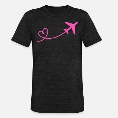 Stewardess Airplane flyer with heart in pink - Unisex Tri-Blend T-Shirt