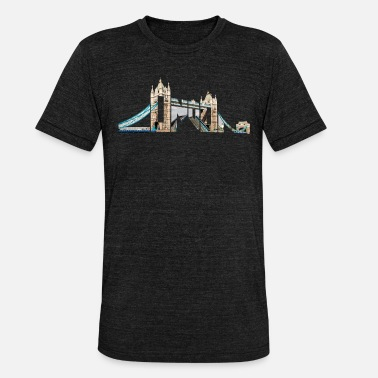 Souvenir London Souvenir Tower Bridge Typografi England - Triblend-T-shirt unisex från Bella + Canvas