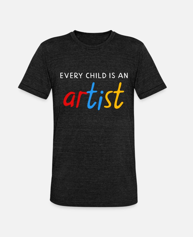 ADHD T-shirts - Every child is an artist - Unisex triblend T-shirt zwart gemêleerd