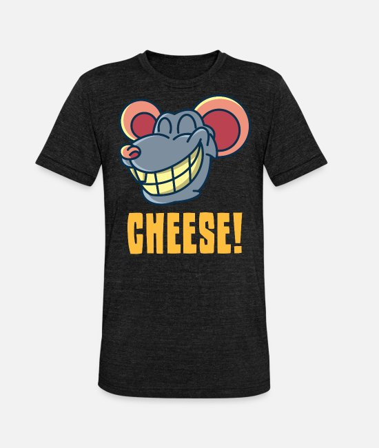 Mouse T-Shirts - Cheese gift, cheese mouse smile comic - Unisex Tri-Blend T-Shirt heather black