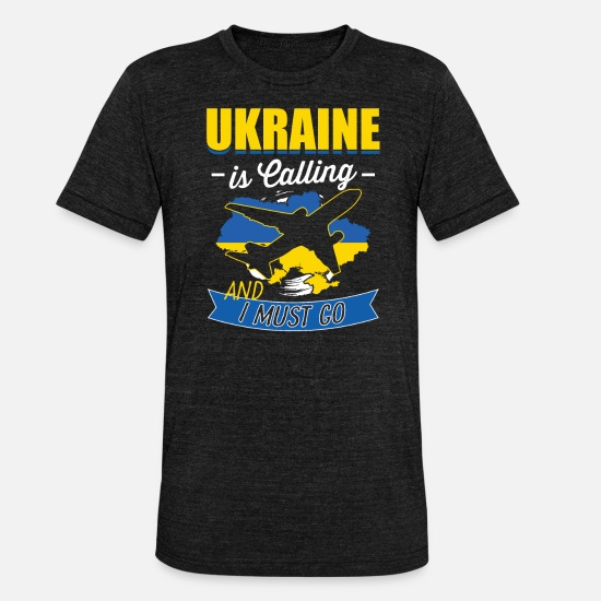 Love T-Shirts - Ukraine is calling and I have to go - Unisex Tri-Blend T-Shirt heather black