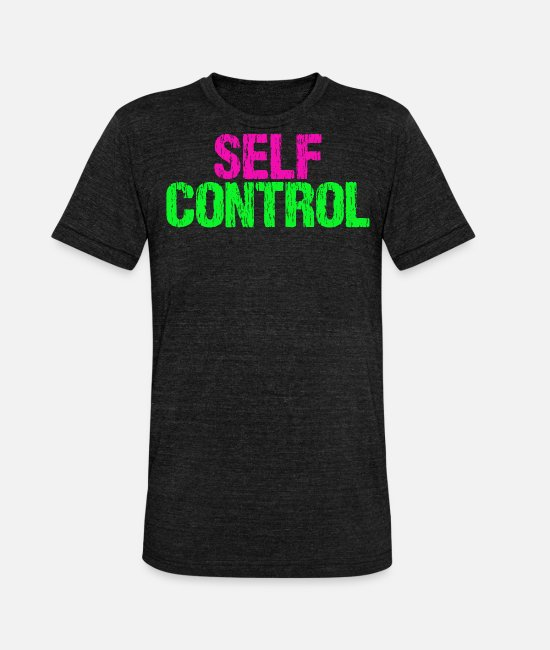Ease T-Shirts - Self control - Unisex Tri-Blend T-Shirt heather black