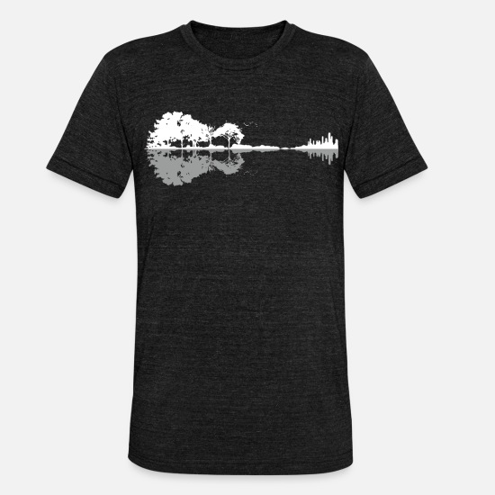 Guitar T-shirts - Nature Reflection Guitar Shirt Band muzikant shirt - Unisex triblend T-shirt zwart gemêleerd