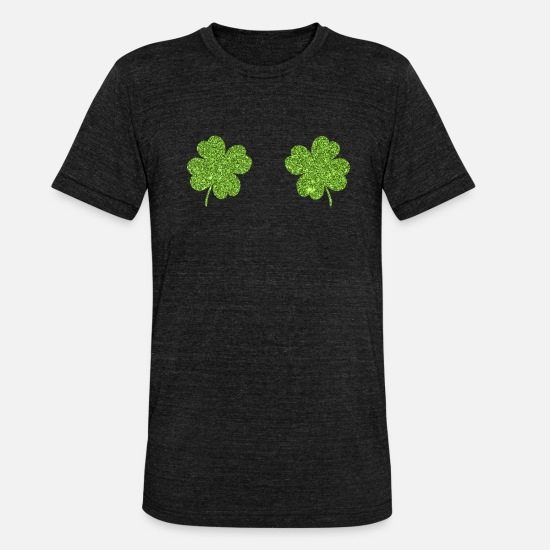 Ireland T-Shirts - St. Patricks Day shamrock breasts for women - Unisex Tri-Blend T-Shirt heather black