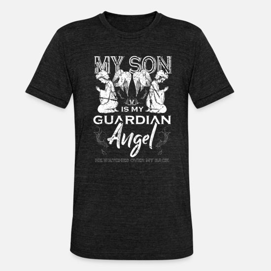 Gift Idea T-Shirts - Guardian angel son - Unisex Tri-Blend T-Shirt heather black