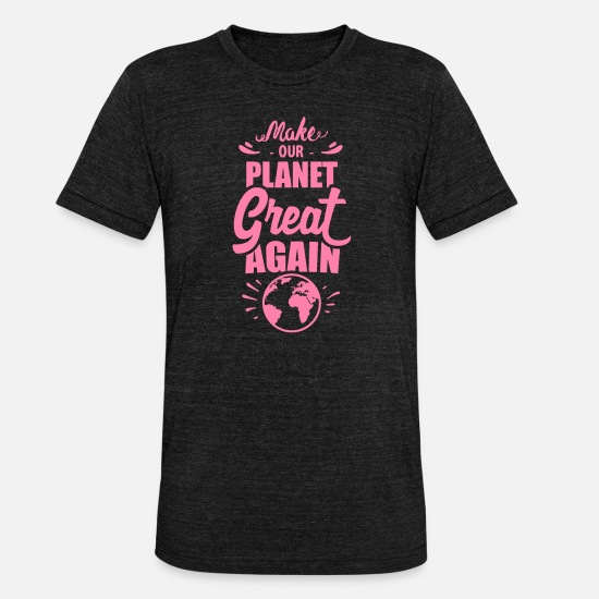 Gift Idea T-Shirts - Save the Planet - Unisex Tri-Blend T-Shirt heather black