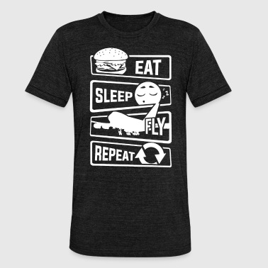 Vliegveld Eet Sleep Fly Repeat - Aircraft Pilot Airman Flight - Unisex tri-blend T-shirt van Bella + Canvas