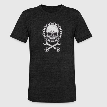 Bicycle Biker Skull Biker-Bicycle - Unisex Tri-Blend T-Shirt by Bella & Canvas