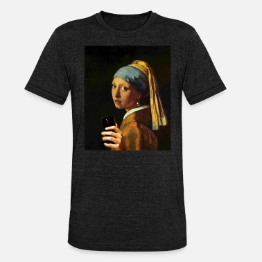 Painting Vermeer girl with pearl earring and smartphone - Unisex Tri-Blend T-Shirt