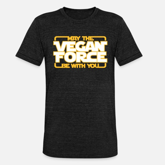 Vegan T-shirts - may the Vegan Force be with you - Vegan - Veganer - Unisex triblend T-shirt zwart gemêleerd