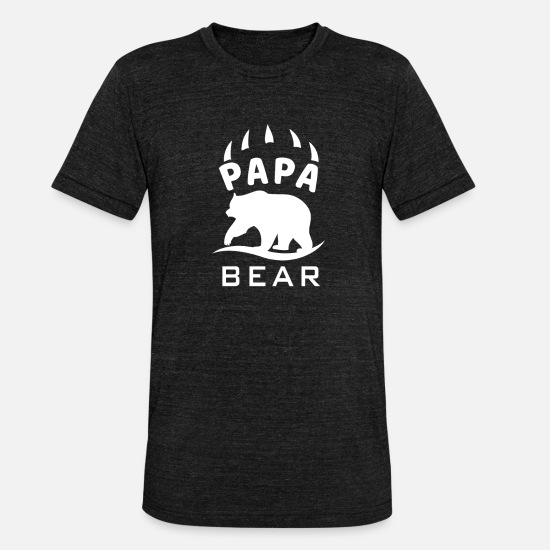 Best Dad T-Shirts - Daddy Bear Dad Dad Daddy Daddy Shirt - Unisex Tri-Blend T-Shirt heather black