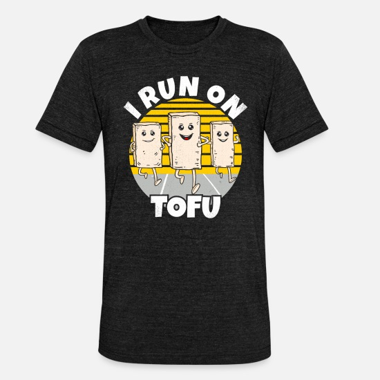 Vegan T-Shirts - Vegetarian i run on tofu vegan runner gift - Unisex Tri-Blend T-Shirt heather black