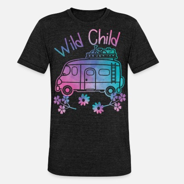 Hippie Movement Wild Child Watercolor Hippie Movement Camping - Unisex Tri-Blend T-Shirt by Bella & Canvas