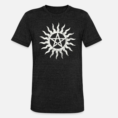 Goth Pentagram Flames Pentacle Grunge Distressed - Unisex Tri-Blend T-Shirt