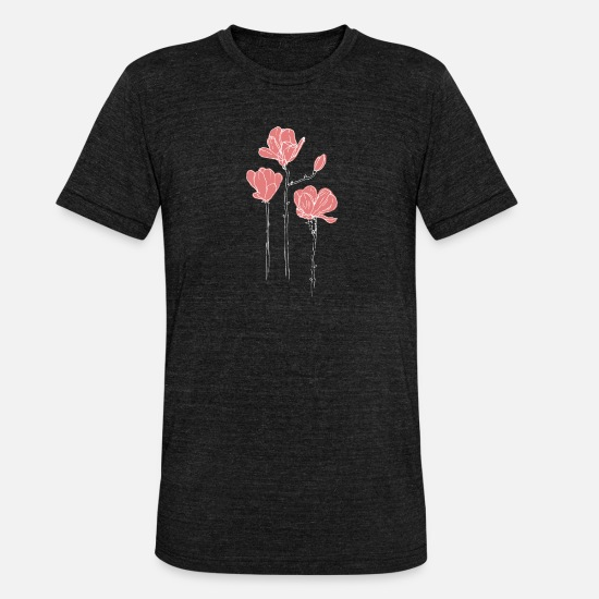 Haven T-shirts - Pink blomster - Unisex triblend T-shirt sort meleret