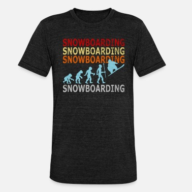 Evolution Retro Vintage Snowboarding Snowboarder Evolution - Unisex Tri-Blend T-Shirt by Bella & Canvas