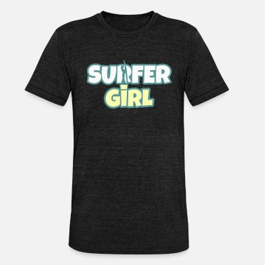 Surf surfer girl woman girl hobby surfing sea - Unisex Tri-Blend T-Shirt by Bella & Canvas