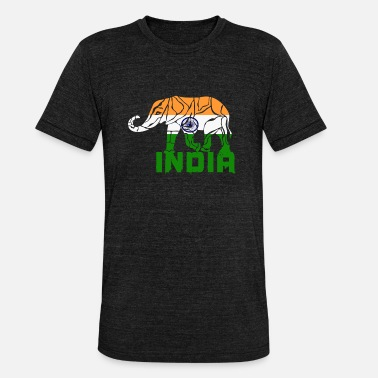 Rupee India elephant / flag gift national color - Unisex Tri-Blend T-Shirt by Bella & Canvas