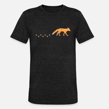 Spur Polygonal Fox with Footprints - Unisex T-Shirt meliert