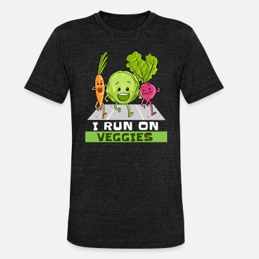 Vegetarian I Run On Veggies Vegan Vegetarian Runner Running - Unisex Tri-Blend T-Shirt