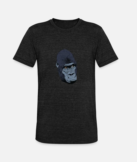 Easter T-Shirts - Gorilla monkey head t-shirt for fans and lovers - Unisex Tri-Blend T-Shirt heather black