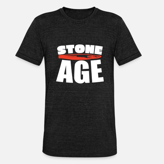Birthday T-Shirts - stone age - Unisex Tri-Blend T-Shirt heather black