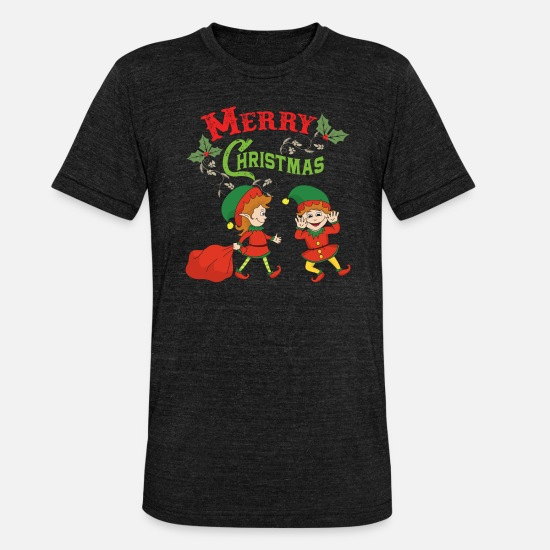 Jul T-shirts - Jul Elf Elf Jul Jul Xmas - Unisex triblend T-shirt sort meleret