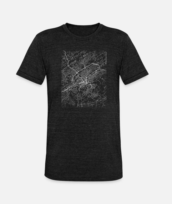 Area T-Shirts - Minimal Knoxville city map and streets - Unisex Tri-Blend T-Shirt heather black