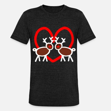 Red Stick Figure Funny reindeer stick figure heart - Unisex Tri-Blend T-Shirt by Bella & Canvas