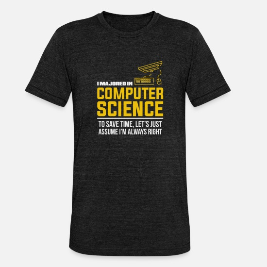 Science T-Shirts - Computer science study gift - Unisex Tri-Blend T-Shirt heather black