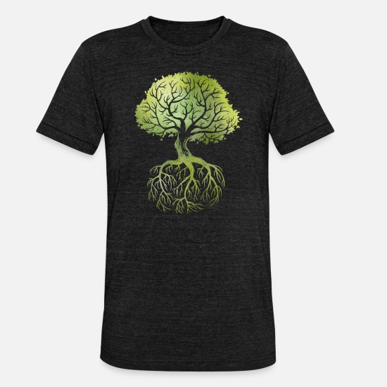 Tree T-Shirts - Roots - Unisex Tri-Blend T-Shirt heather black