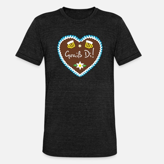 Munich T-Shirts - Gingerbread heart Griaß Di blue - Unisex Tri-Blend T-Shirt heather black