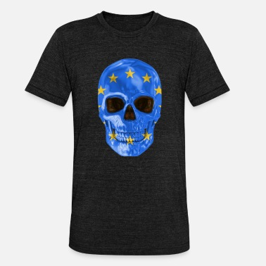 European Union Flag Skull Flag Of European Union - Unisex Tri-Blend T-Shirt