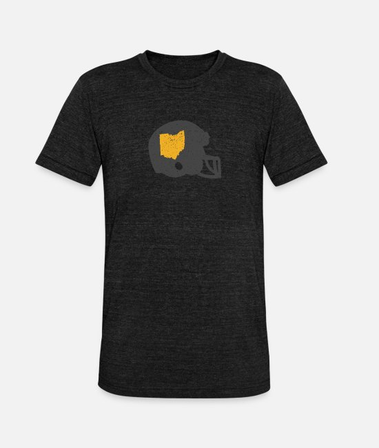 Urban T-Shirts - State Shape of Ohio Vintage Football Helmet - Unisex Tri-Blend T-Shirt heather black