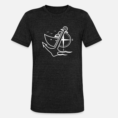 Yachting Holiday Anchor with compass and yacht - Unisex Tri-Blend T-Shirt