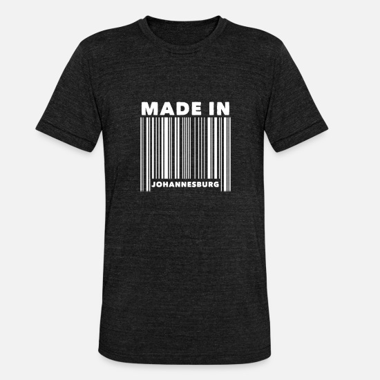 Johannesburg T-Shirts - Johannesburg South Africa Barcode - Unisex Tri-Blend T-Shirt heather black