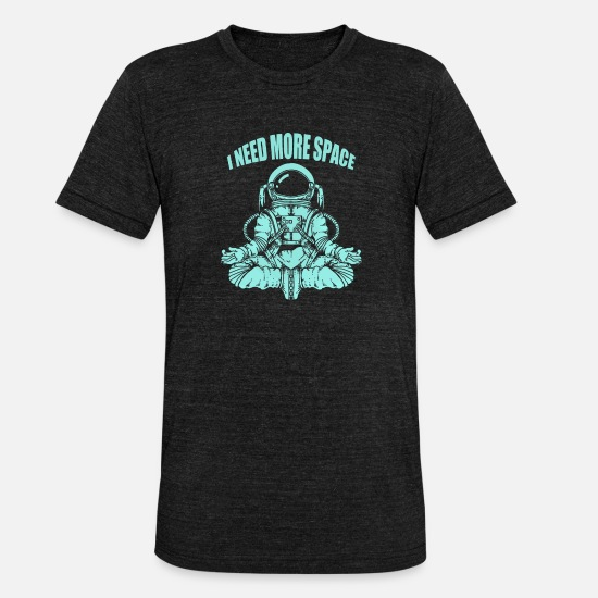 Space T-Shirts - ★★★ Yoga Astronaut Need More Space ★★★ - Unisex T-Shirt meliert Schwarz meliert