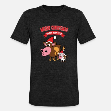 Christmas Cow Christmas Christmas Xmas Funny cows cow cattle - Unisex Tri-Blend T-Shirt by Bella & Canvas