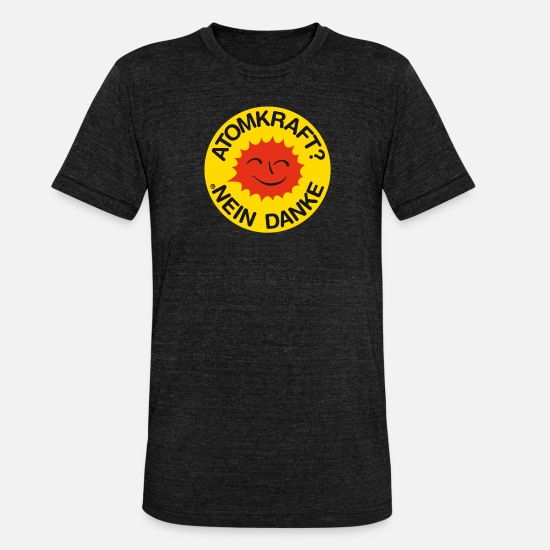 Power T-Shirts - Nuclear power? No thank you! Logo smiling sun - Unisex Tri-Blend T-Shirt heather black