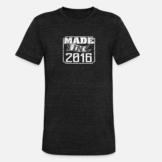 Birthday T-Shirts - Made in 2016 - Unisex Tri-Blend T-Shirt heather black