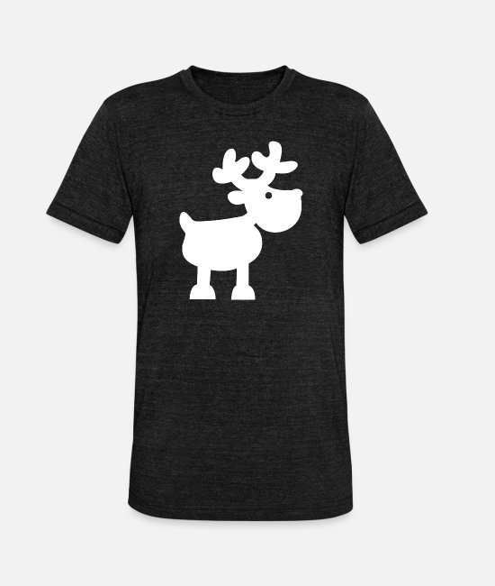 Stag T-Shirts - Christmas reindeer XMAS - Unisex Tri-Blend T-Shirt heather black