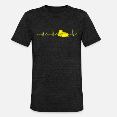 Rate Bulldozer - Heart Line, Heartbeat, Heart Rate, Heart Rate - Unisex Tri-Blend T-Shirt