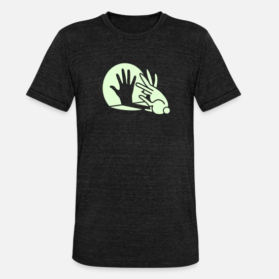 Funny T-Shirts - Rabbit Hand Shadows Glow in the dark - Unisex Tri-Blend T-Shirt heather black