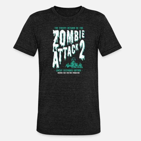 Zombie T-Shirts - ZOMBIE ATTACK - Unisex Tri-Blend T-Shirt heather black